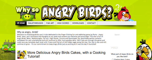 angry birds blog/website